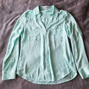 Express Mint Green Portofino Button up Shirt